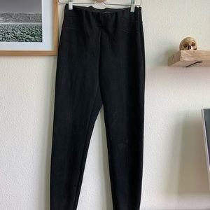 Zara black suede pants w/ hip detailing, side zips